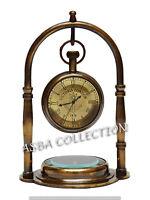 Brass Antique Desk Clock With Compass Maritime Nautical Desk Clock Gift Item