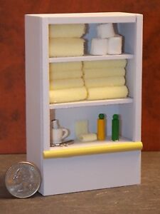 Dollhouse Miniature White & Yellow Bathroom Shelf Cabinet 1:12 inch scale E61