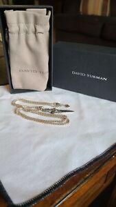 "David Yurman Sterling Silver 925 Black Diamond 2"" Waves Dagger Amulet Pendant"
