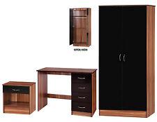 Alpha Black & Walnut 3 Piece Bedroom Set Double Wardrobe Desk & Bedside Table