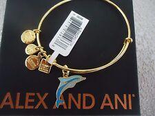Alex and Ani DOLPHIN Shiny Gold Charm Bangle New W/ Tag Card & Box