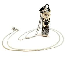 """Moonstone Gemstone Pill Vial Pendant 18"""" Curb Chain Necklace 925 Sterling Silver"""