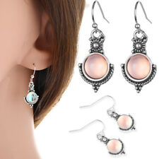 Silver Plated Woman Rainbow Moonstone Trendy Jewelry Gift Ear Dangle Earrings AU