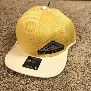 New Nike Pro Mens Dri-Fit Trail Logo Cap Hat Adjustable Yellow