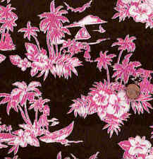 Island Toile pink brown Michael Miller fabric