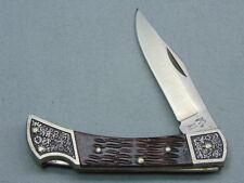 Vintage TAYLOR CUTLERY Japan Lockback Pocket Knife *Fancy Bolsters & Jigged Bone