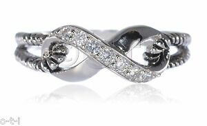 Love Promise Rope Braid Infinity Ring Round Cut White Sapphire Sterling Silver