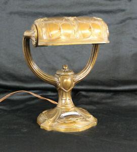 Jugendstil Lampe Schreibtischlampe Office Büro Banker Klavier Massiv um 1900