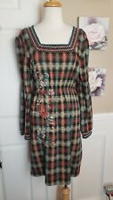 Double D Ranch Flannel Plaid Embroidered Beaded Rhinestone Front Dress Size S