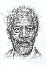Morgan Freeman Portrait Scribble DIN A4 Zeichnung Kunst Original Jannys ART