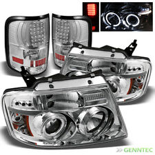 For 04-08 Ford F150 Dual Halo LED Pro Headlights+LED Tail Lamp Head Lights