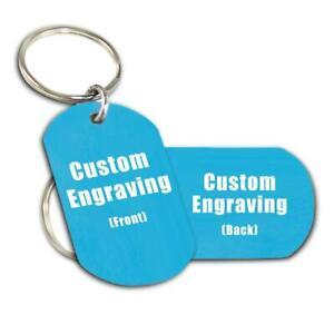 Personalized Blue Aluminum Keychain - Custom ENGRAVED FREE - PDA2B-SR