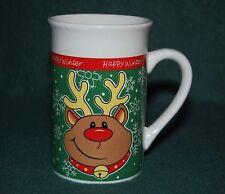 """Royal Norfolk Reindeer Snowflake Design """" Happy Winter """" Coffee Mug / Tea Cup"""