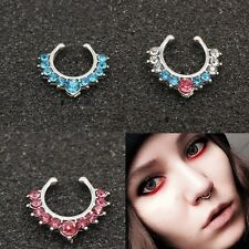 3 x Fake Alloy Septum Clicker Nose Ring Non Piercing Hanger Clip On Jewelry