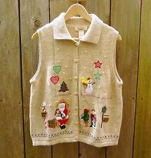 Women's Christmas Sweater Vest Bechamel Sz L Tan Button-up Embroidered Applique