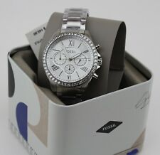 NEW AUTHENTIC FOSSIL MODERN COURIER SILVER CRYSTALS GLITZ WOMEN'S BQ1773 WATCH