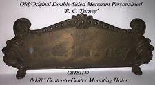 """Old/Orig Sm Mdl 313 Bronze Nat'l. Candy Cash Register Top Sign - """"R. C. Turney"""""""
