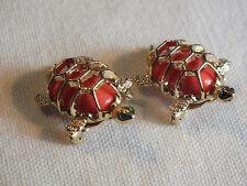 "Beautiful Brooch Gold Tone Set 2 Turtles Coral Cabs Green Rhinestones 1 1/4 x 1"""