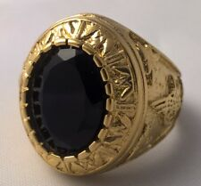 G-Filled 18ct yellow gold simulated black sapphire Men's ring Gents USA 11 AUS W