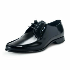 Prada Men's 2EC124 Black Polished Leather Oxfords Dress Shoes Sz 10 11 12