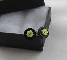 Handmade Unusual Funky Black & Yellow Flower Round Button Stud Earrings - Boxed