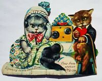 Diecut Mechanical Valentine CATS LISTEN RADIO Anthropomorphic Germany Vtg Rare