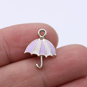 10Pcs Enamel Umbrella Charm Pendant Jewelry Making Earrings DIY Accessorie