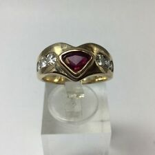 Stunning 14Kt Yellow Gold Ruby And Diamond Ring Size 7.25