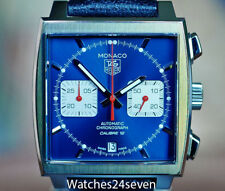 TAG HEUER MONACO CALIBRE 12 CHRONOGRAPH BLUE SUNBURST DAIL 39MM, Retail $5,350