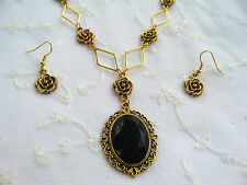 VICTORIAN STYLE- DIAMOND ROSE - BLACK ACRYLIC GOLD PLATED NECKLACE EARRINGS SET