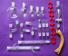 New Chemical Glassware kit,Laboratory Glass Set With Ground Joints 24/29,29Pcs