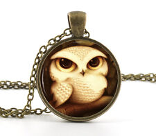 Owl Glass Pendant - Vintage Bronze Necklace - Antique Style Cute Baby Bird Art
