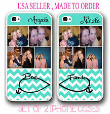 PERSONALIZED CUSTOM PHOTO MINT CHEVRON BEST FRIEND CASE FOR iPhone X 8 7 6S 6 SE