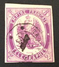 Timbre Telegraphe, n°4, 2f violet, TTB, Obl, cote 200e. Signe Calves