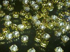 CraftbuddyUS 100pcs 4.3mm SS18 Clear Glass Gold Set Sew On Rhinestone Gems, DIY