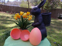 2 HUGE FILLABLE EASTER EGGS BOXES CONTAINER XL BLOW MOLD  peachy orange glitter