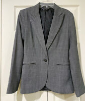Norma Kamali Blazer Long  Lean Glen Plaid Gray Black Jacket One Button Small 4