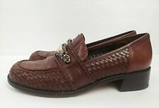 Brighton Brown Leather Reptile Print Loafers Silver Buckle Pumps Women Size 8N