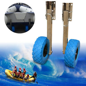 10''x3'' Boat Transom Launching Wheel Dolly For Inflatable Boat Yacht Stainless