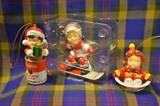Group 0f 3 Vtg  CAMPBELL Soup Kids-On Sled, On Snowboard, and Holding Present