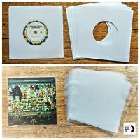 150 RECORD SLEEVES FOR 7″ VINYL - WHITE 100 GSM PAPER & CLEAR SLVS FOR 45RPM EPs
