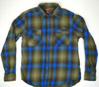 Vintage Olive Blue Shadow Plaid Flannel Casual Shirt M 90s Kurt Cobain Grunge