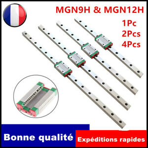 1/2/4Pcs MGN9H/MGN12 Linear Coulissant Guide/bloc 9/12mm Linear Guide 250-600mm