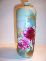 Antique Hand Painted Nippon Vase with Scenic Roses