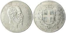 ITALIE  , VICTOR  EMMANUEL II  ,  5  LIRE  ARGENT  ,  1865  T  TURIN ,  RARE