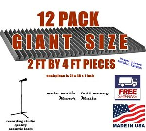 GIANT SIZED 12 pack 24x48x2  WEDGE charcoal grey acoustic foam panels soundproof