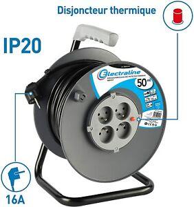 Rallonge Prolongateur électrique 50 m enrouleur 4 Prises 16 A section 3G1,5 mm²