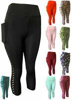 Women Compression Yoga Gym Workout Pants Capri Active Leggings With 2 Pockets