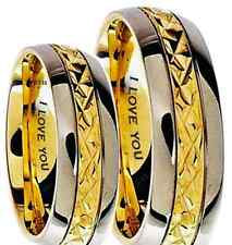 His And Hers 7mm Engraved I Love You Gold Tone Wedding Engagement Band Ring Set