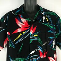 Vintage 80s OP Ocean Pacific Black Floral Bird Of Paradise Hawaiian Shirt Size M